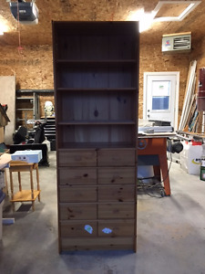 Wooden Bookshelf With Drawers