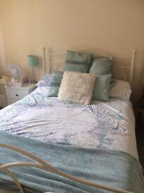 IMMACULATE WHITE BED AND MATTRESS
