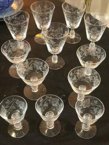 heisey plantation ivy etched asst set of 12 stemmed glasses pineapple stem