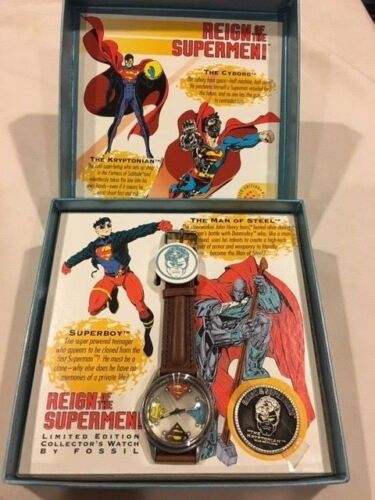 REIGN OF THE SUPERMEN, LIMITED EDITION FOSSIL COLLECTORS WATCH, 1993, NEW IN MIN