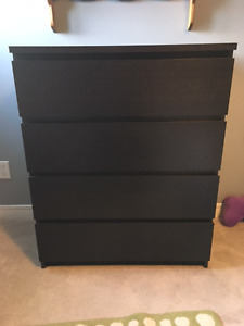 Ikea MALM 4 drawer dresser in Black-Brown