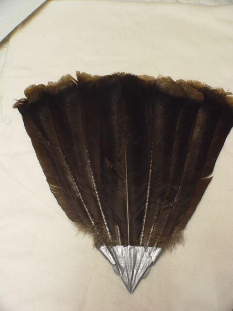 Rare Black Spaniard Turkey Nine Feather Tail Fan Set  w/ fan holder   #BF41