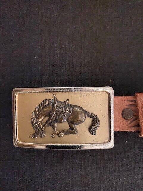 Vintage Western Bronco Horse Belt and Buckle Cowboy Rodeo JUSTIN Size 26