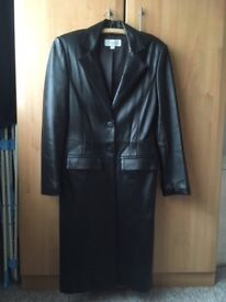 Black Leather coat by Next size 10