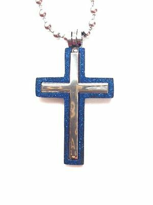 New Cross With Blue Edge Pendant And Chain - $7.99