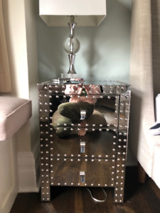 Mirrored studded  nightstands with leather accents