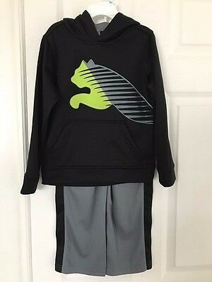 PUMA NWT Boy 2PC Track Suit Top Sweatshirt Hoodie Pant Warm Up Cat Black Gray 5  Cat Track Pant