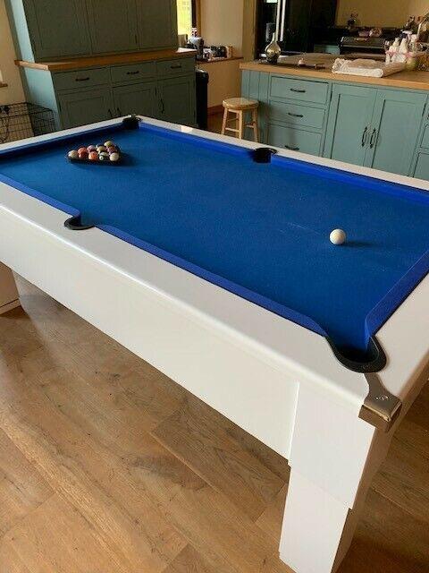 Gloss White 7ft,Sq leg,Blue cloth slate bed Pool Table,Geordie Pool product
