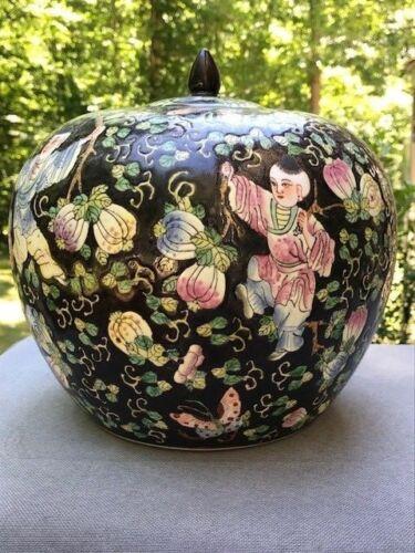 Large Black Porcelain Jar with Lid - Figures