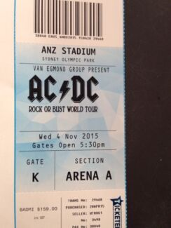 AC/DC ACDC ticket Wed 4th Nov Arena A Front Standing ANZ Sydney Berowra Heights Hornsby Area Preview