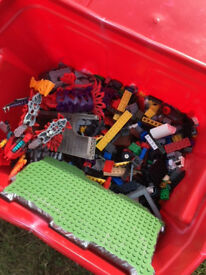Crate of Lego compatible blocks