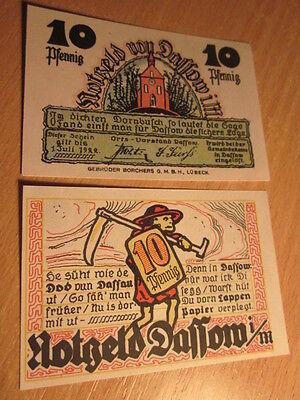 Schöner Notgeld Schein 10 Pfennig Gemeindekasse Dassow i.M.  gültig bis 1.7.1922