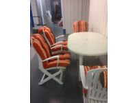 Allibert garden furniture 6 chairs with cushions, extender table made of resin not plastic