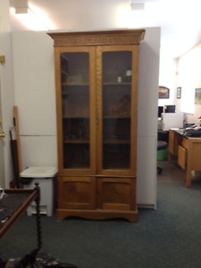 BOOKCASE - Antique oak with glass in doors.