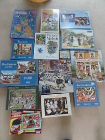 Jigsaw Puzzles - job lot of 14 for £5 ! (mostly 500 & 1000 pieces)