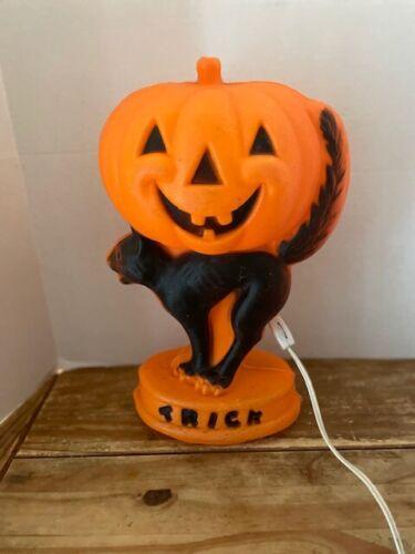 Vintage Halloween Blow Mold Pumpkin With Cat