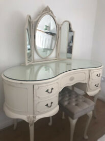 shabby chic dressing table and a petite stool