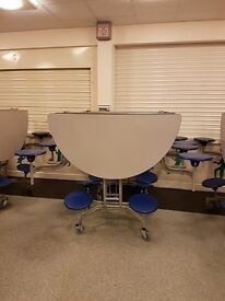Spaceright Round Mobile Folding Table 8 Seat Units.