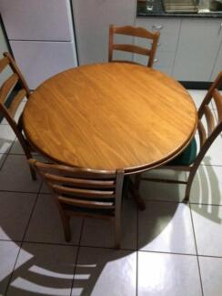 Round Timber Dining Table and 4 Chairs