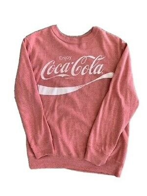 Enjoy Coca-Cola Men's Faded Red Distressed Logo Crew Neck Light Sweatshirt (M)
