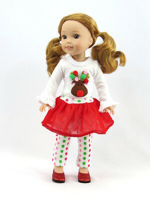 Reindeer Tutu Christmas Outfit Fits Wellie Wishers 14.5