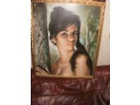 a good original retro print depicting stylised lady gold framed/circa 1960s/70s glazed