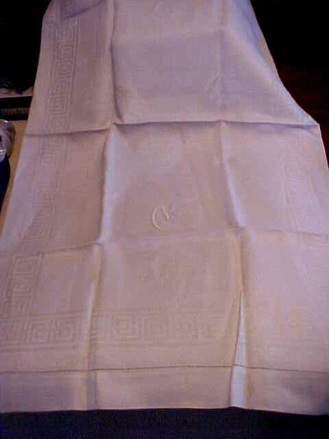 Antique White Damask Splasher Towel Monogram C