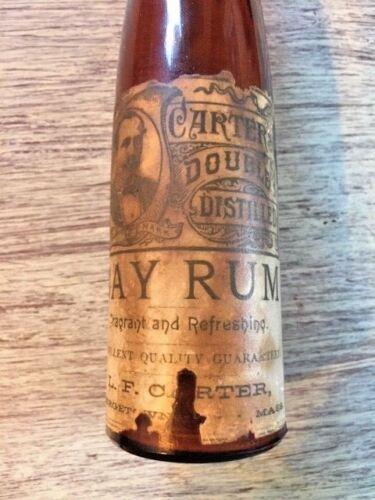 Vintage or Antique? Partial Label Carter Bay Rum Brown Glass Bottle