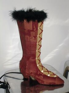 so girlie LACE-UP BOOT LAMP feathers Boudoir GLAM GLITZ too cute Cambridge Kitchener Area image 2