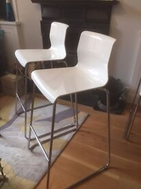 *** 4 white bar stools with backrest •••