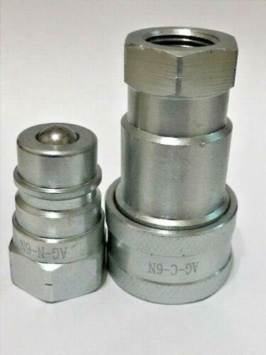 "3/8"" AG ISO 5675 NPT Hydraulic Coupler Set, Quick Connect Tractor Couplers"