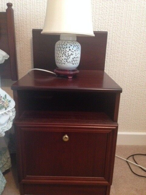 2 Bedside Cabinets In Dark Wood Matching Dressing Table Available