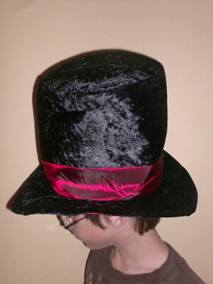 Velvet Black Tall Top Hat red band gothic costume vampire victorian steampunk