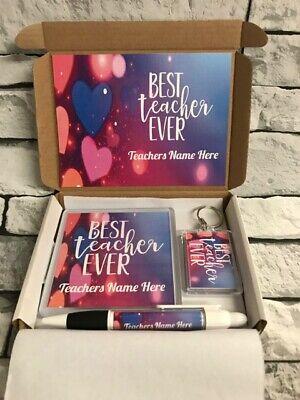 Personalised Best Teacher Hamper - Coaster - Keyring - Pen - Great Present (Best Personalized Gifts Pens)