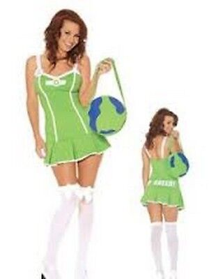 Go Green Girl 3 pc. Costume  Mini Dress, Pin & Earth Bag Petite Small Organic (Organic Halloween Costumes)