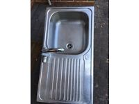Blanco stainless steel single drainer sink top and mixer tap