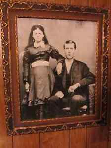 Antique Picture of A Couple in Brown & Gold Frame
