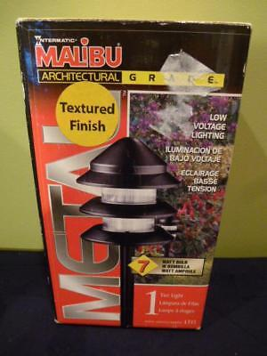 1-Malibu Tier Light Black Textured Low Voltage LT13 NIB 7 watt Landscape Pathway 7 Watt Tier Light