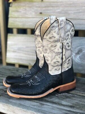 Anderson Bean Womens Black Smooth Ostrich & Grey Embossed Square Toe Boots 1593M Smooth Womens Boots