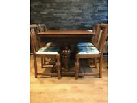 Wooden Dining Room Table and 4 Chairs - Vintage