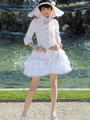 NWT CHANEL 13C LIGHT PINK LACE RUFFLE TRMIING JACKET FR36