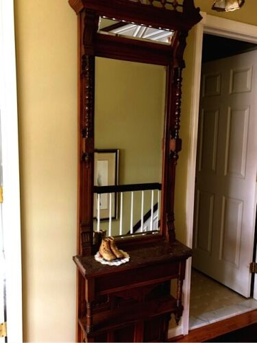 ANTIQUE WALNUT STICK AND BALL PIER MIRROR TENNESSEE BROWN MARBLE VICTORIAN VINTA