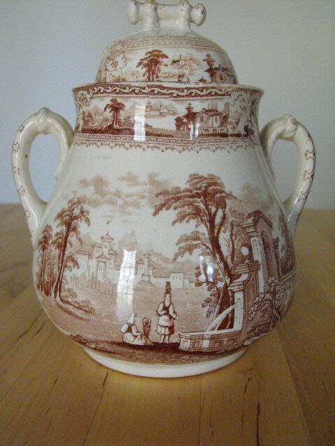 Old Hall  Staffordshire Brown Transferware Earthenware Sugar Bowl  w/lid