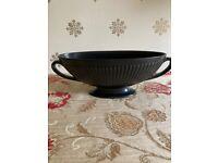Black Wedgewood Vase, Ravenstone Fluted Oval Mantel Vase