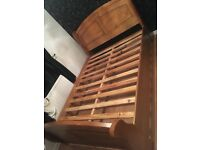 Beautiful double wooden sleigh bed good condition (great price)