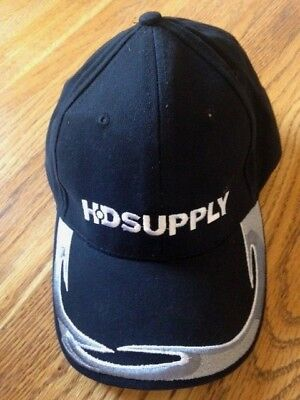 Hd Supply Hat Low Profile Adjustable Strap Back Black With Graphics On Bill Nwot