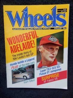 Wheels, Jan '86; Niki Lauda, Adelaide GP, Laser TX3, 323, Pulsar