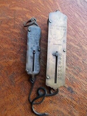 Two Antique Hanging Brass & Iron Scales - Sargent, Morton & Bremner - 25 Pound