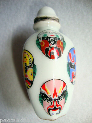 SNUFF BOTTLE SNUFF BOX CARRIES PERFUME PORCELAIN WITH MASKS OF WRESTLING