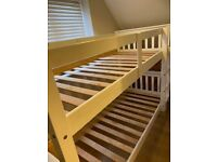 White bunk beds can be separated